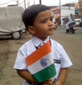 A kid ready for school on Independence Day