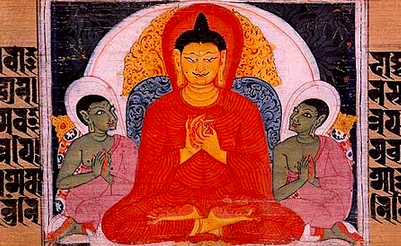 Painting of the Buddha's first discourse