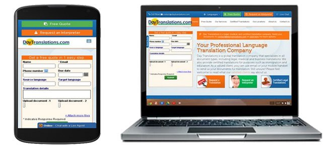 Day Translations Website and Mobile Site