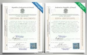 Certified Translation Example - Portuguese to English Birth Certificate