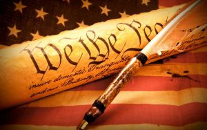 American Constitution and flag
