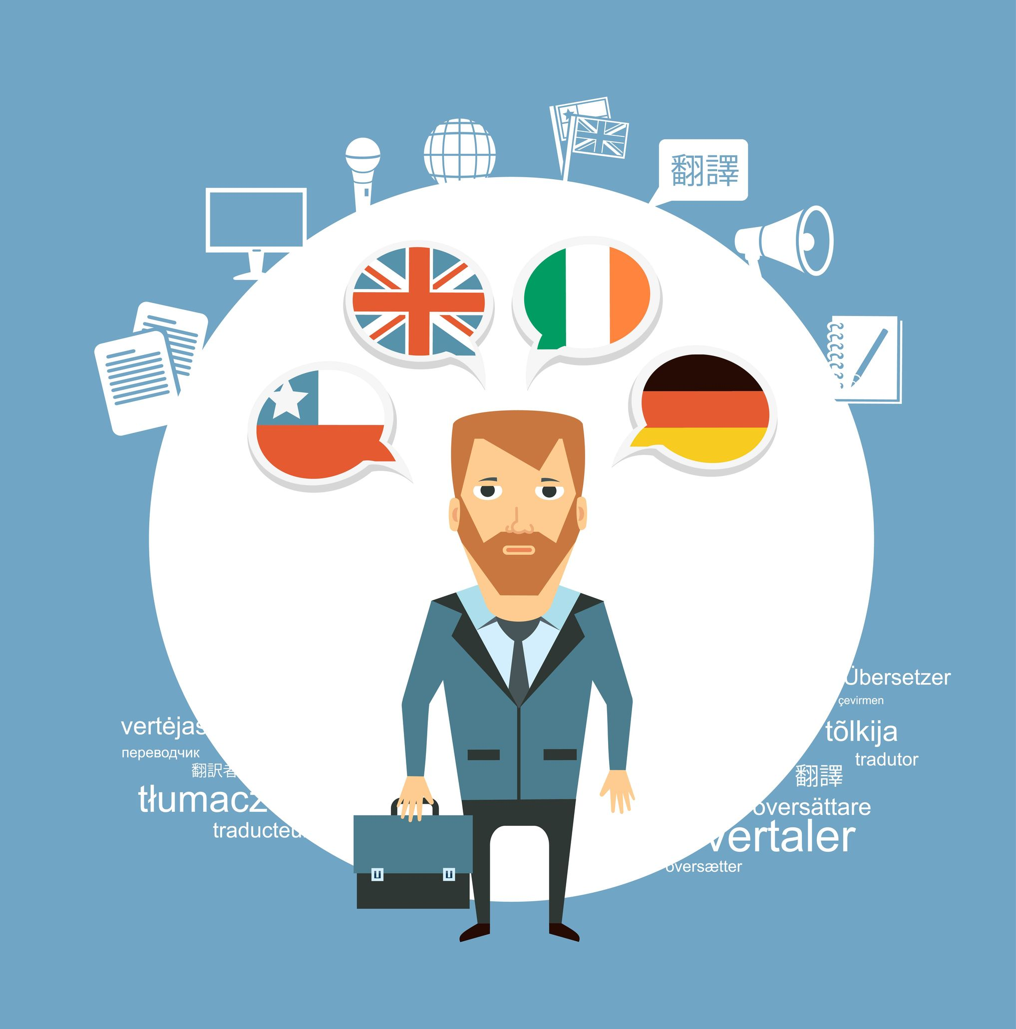 Online Businessman Thinking Languages For Website