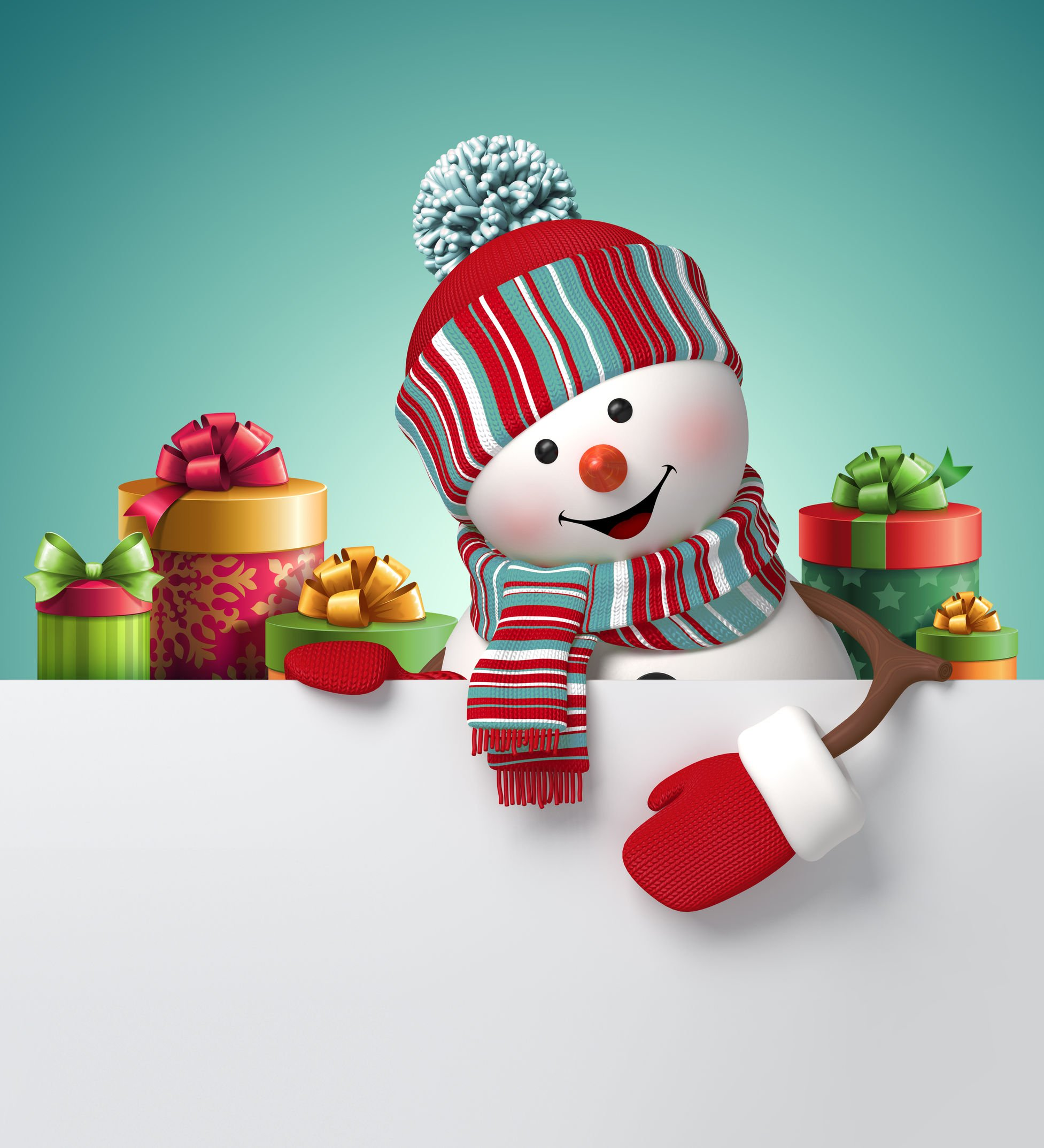 Snowman With Christmas Gift Boxes