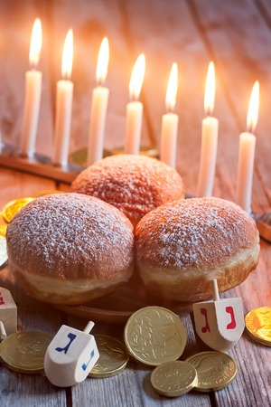 Menorah Doughnuts Chockolate Coins and Wooden dreidels