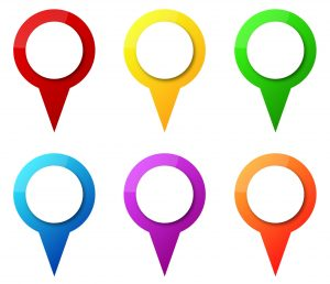18625271 - illustration of colorful map pointers with blank circle tag