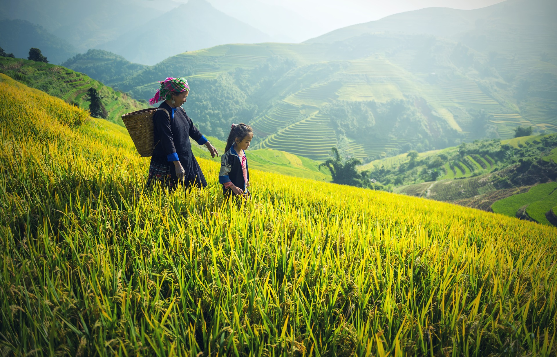Hmong mother and daughter walking