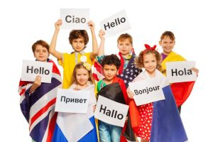 Children having fun learning languages