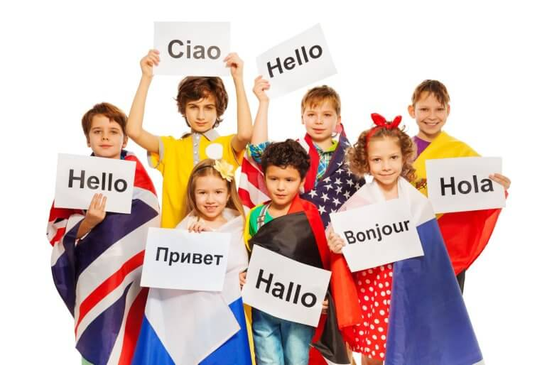 Children having fun learning languages