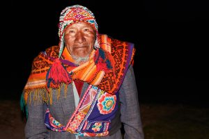Old native peruvian man who speaks a rare language