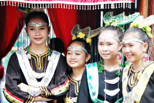 young malaysian girls in traditional costume
