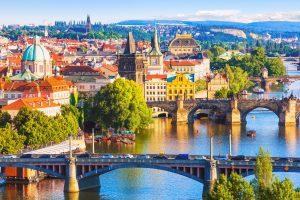 Charles Bridge over Vltava river in Prague Czech Republic
