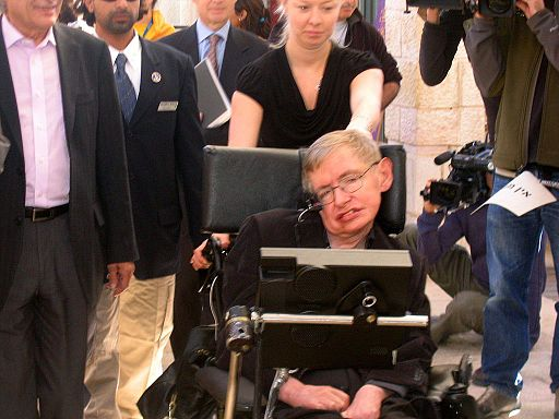 Stephen Hawking going to a lecture in Jerusalem 2006
