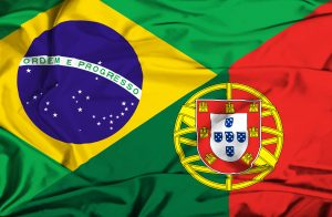 flag of portugal and brazil two countries using Portuguese language