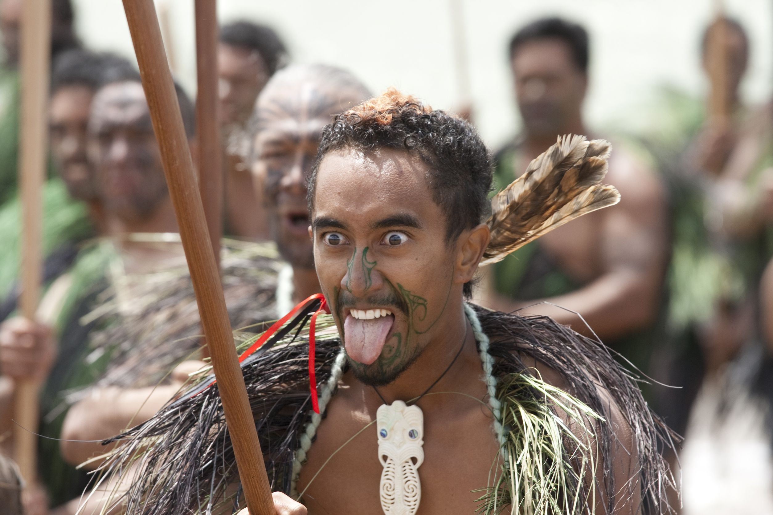 māori warriors performing traditional haka in new zealand