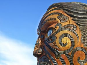 traditional māori face mask carved in wood