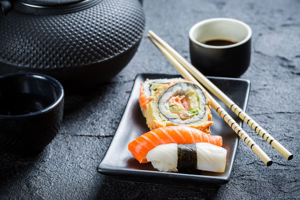 Sushi served with tea