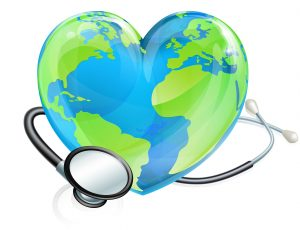 heart shaped earth image with a stethoscope wrapped around it