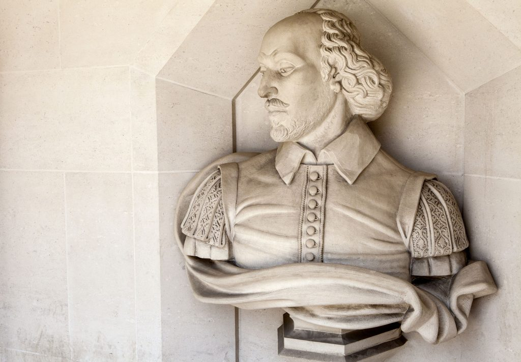 sculpture of famous playwright william shakespeare outside guildhall art gallery london