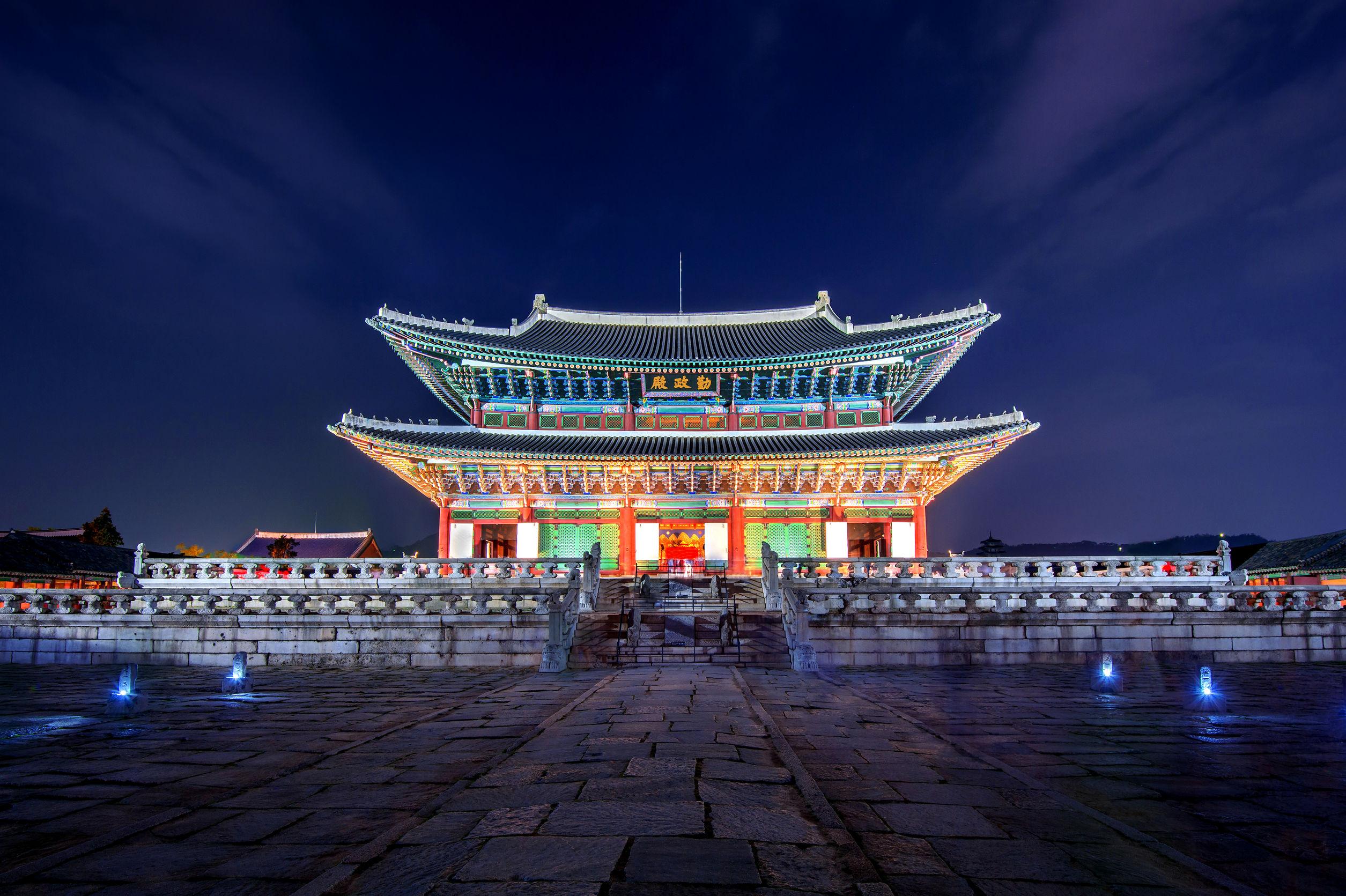 Gyeongbokgung Palace and Milky Way at night in seoul,Korea