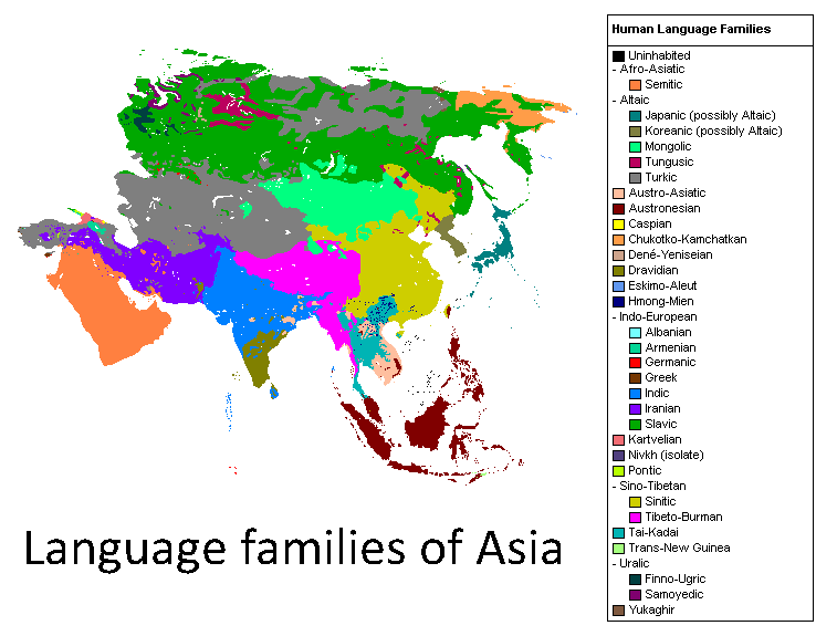 Language families of Asia