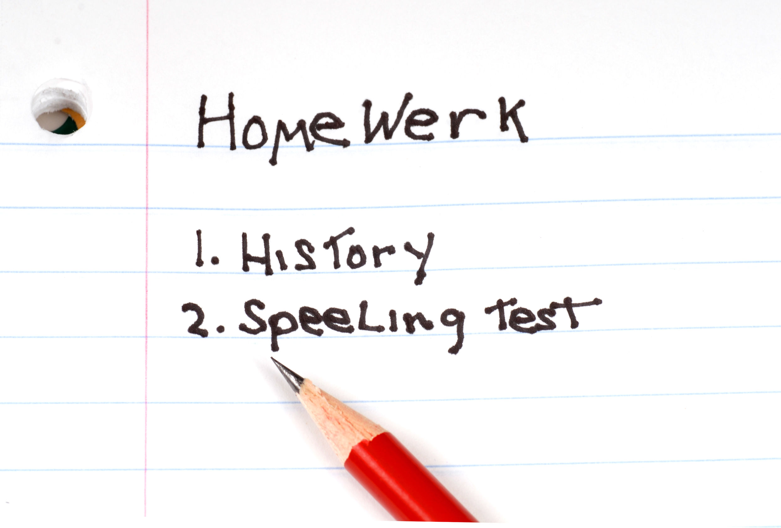 A list of homework to do with misspelled words