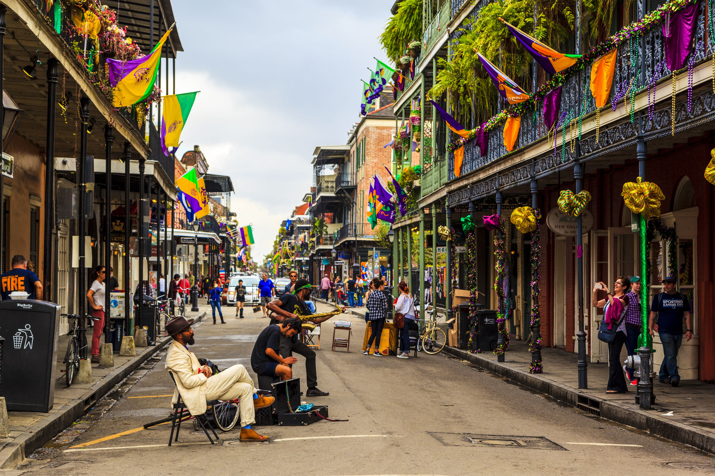 An unidentified local jazz band performs in the New Orleans French Quarter