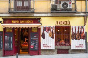 Store selling spanish ham catering to spanish-speaking customers