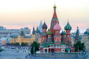 The Saint Basil's Cathedral at the Red Square in summer at sunset, Moscow, Russia