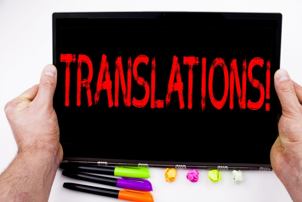 Translations text written on tablet