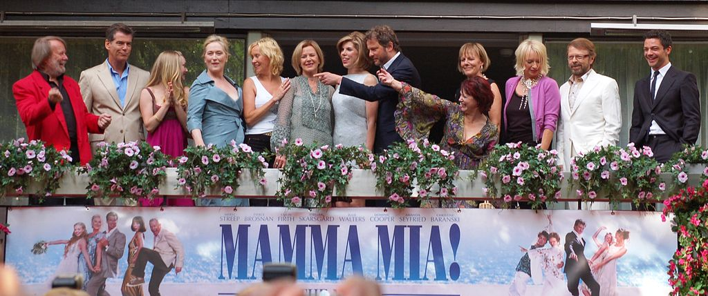 Mamma Mia Movie Cast highlighting ABBA song