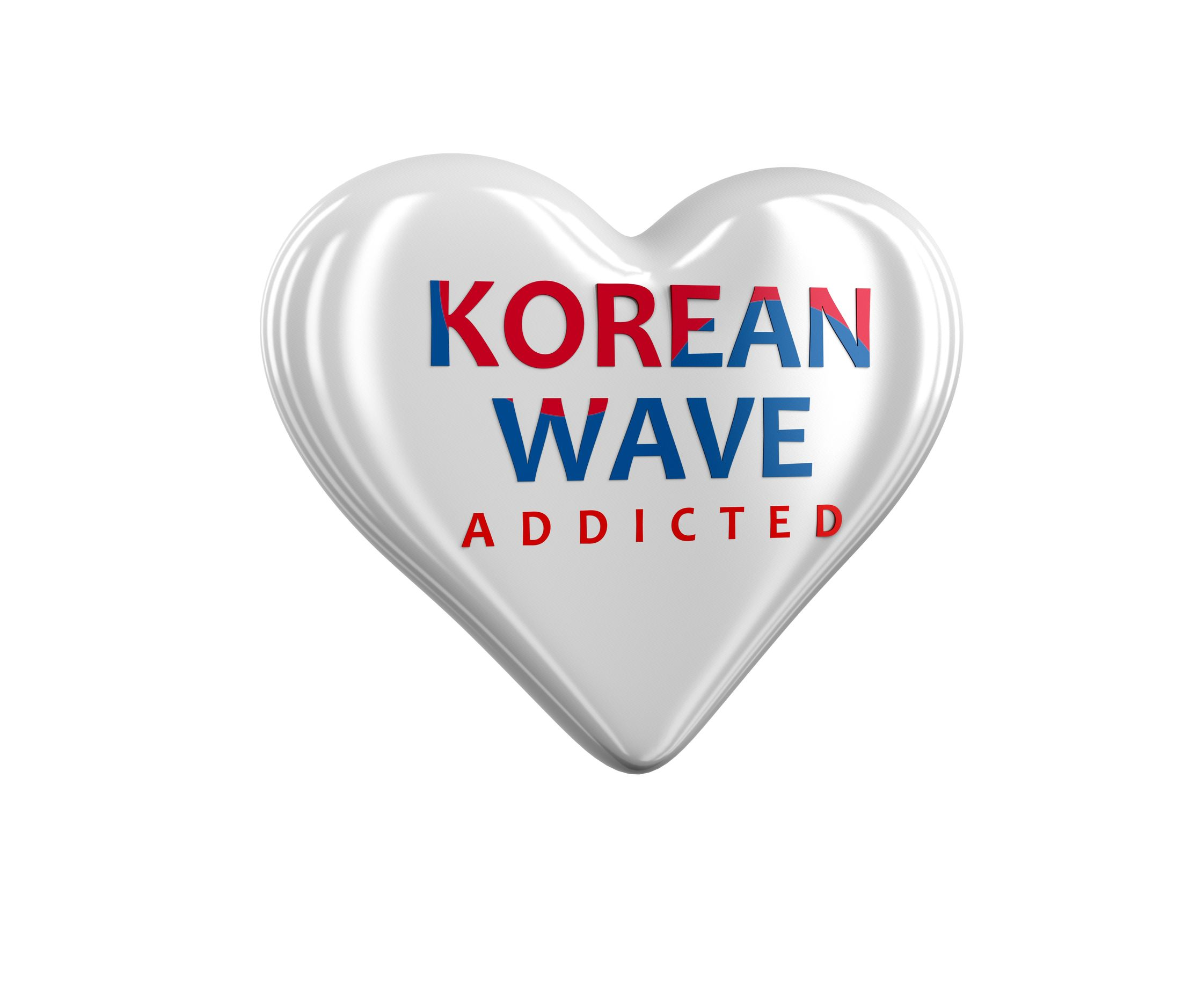 korean wave addicted printed on a silver heart