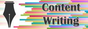 pen tip beside the word content writing over colorful lines
