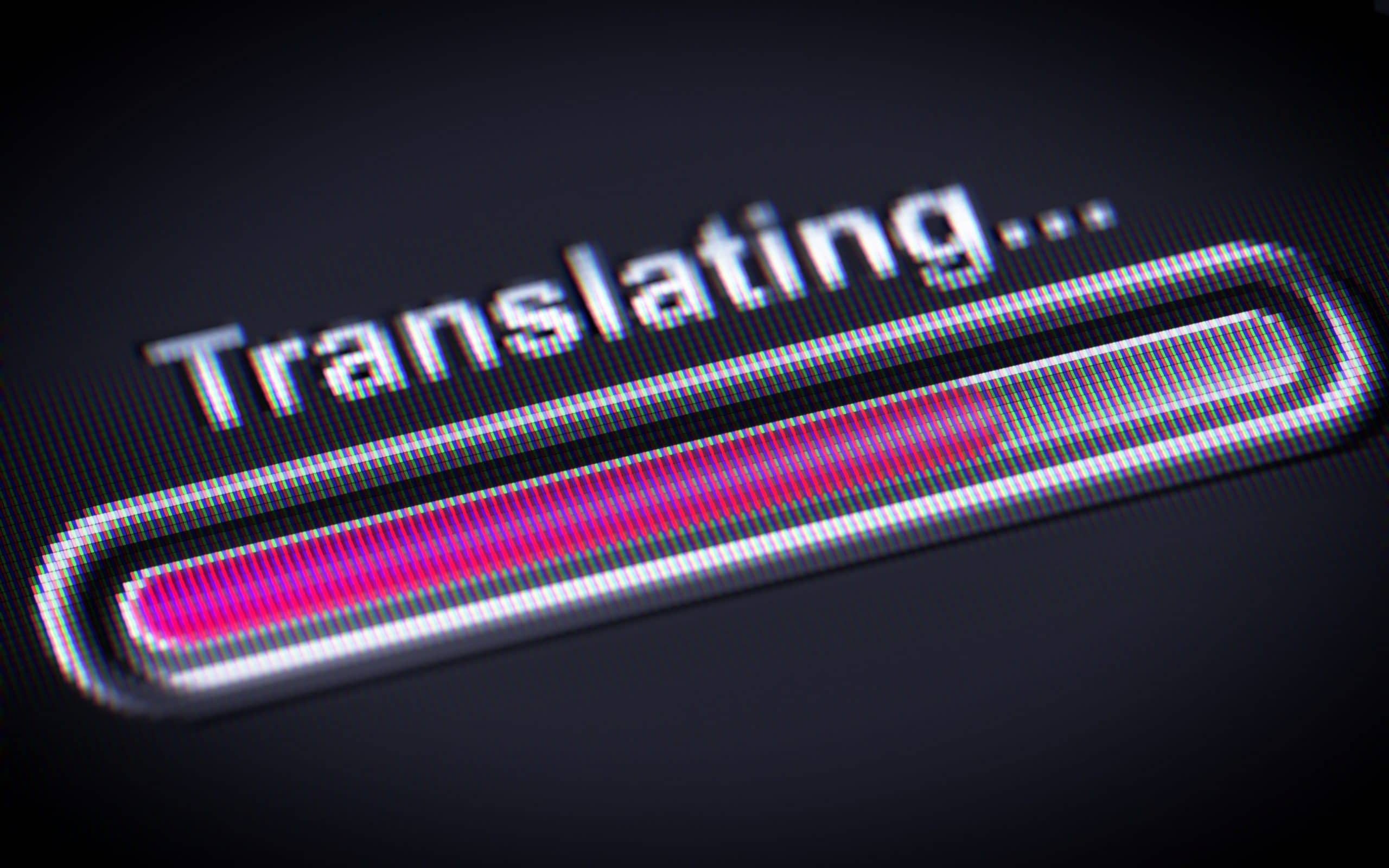 translating word above a progress bar
