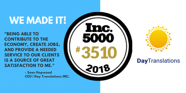 Day Translations Makes It to Inc. 5000 List for 2018