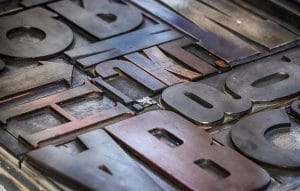 english alphabet letter press