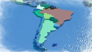 3D map of South America with colored embossed nations