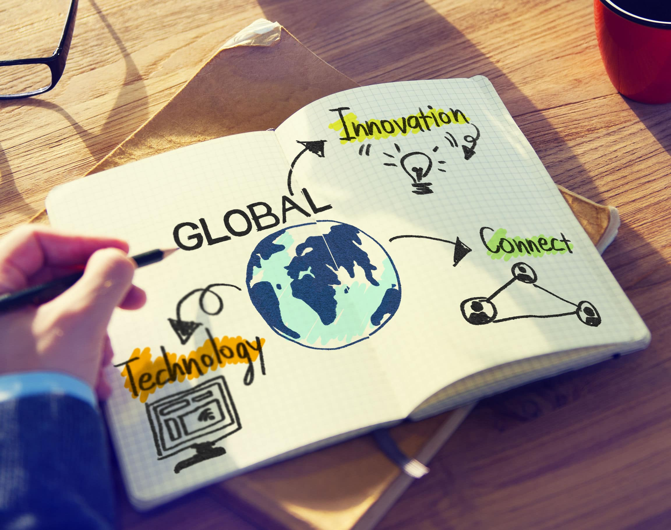 Businessman creating Global Business Concept map