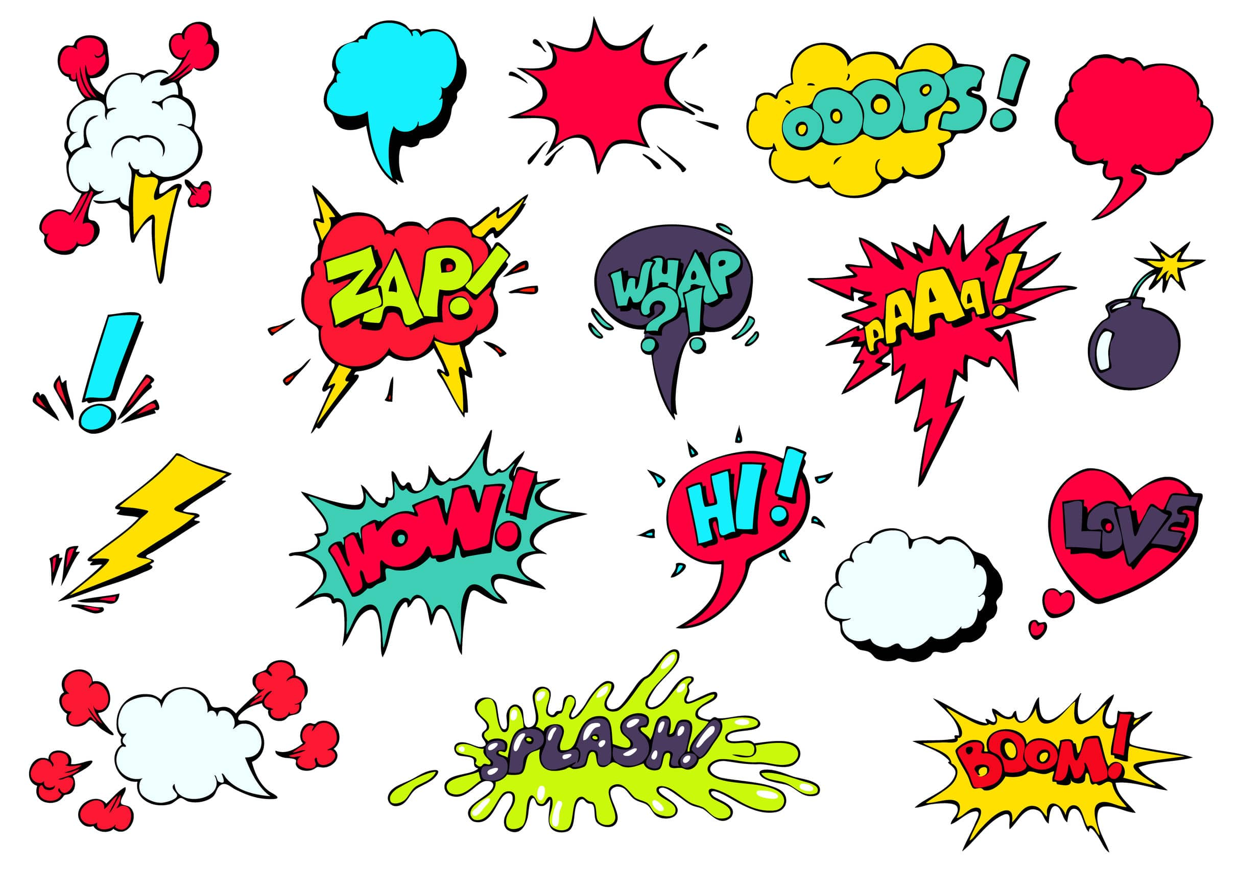 comic speech bubbles for different emotions and sound effects
