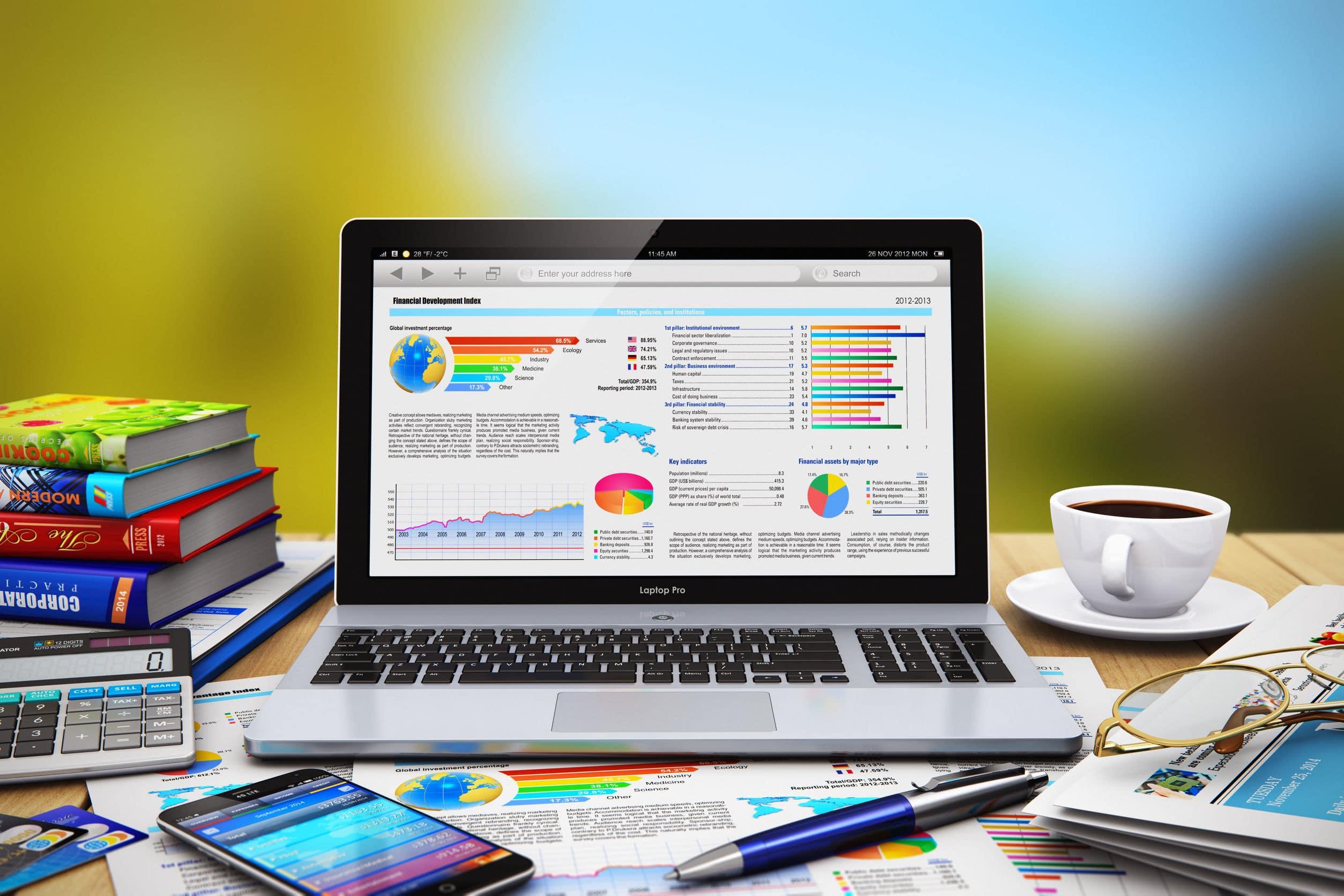 laptop showing international retail analysis