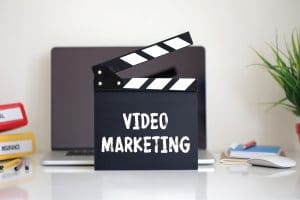 Clapper with Video Marketing word
