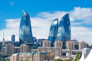 Flame towers in the cityscape in the capital of Azerbaijan located by the Caspian Sea shore