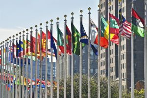 flags of the world outside of The United Nations Building in New York City.