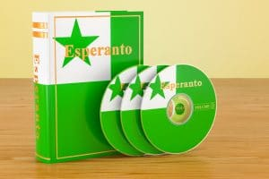 Esperanto language textbook and CD discs