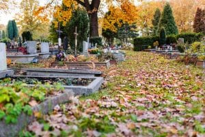 Old cemetery at autumn. November 1, All Saints' Day and All Souls' Day