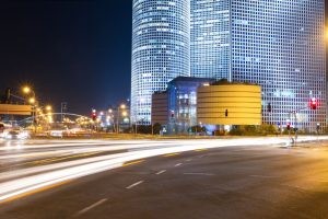 Tel Aviv at night. Azrieli center, a high technology industry zone