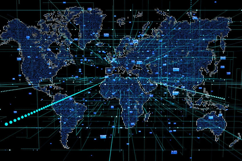 digital map representing globalization