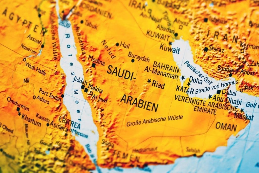 map saudi arabia borders