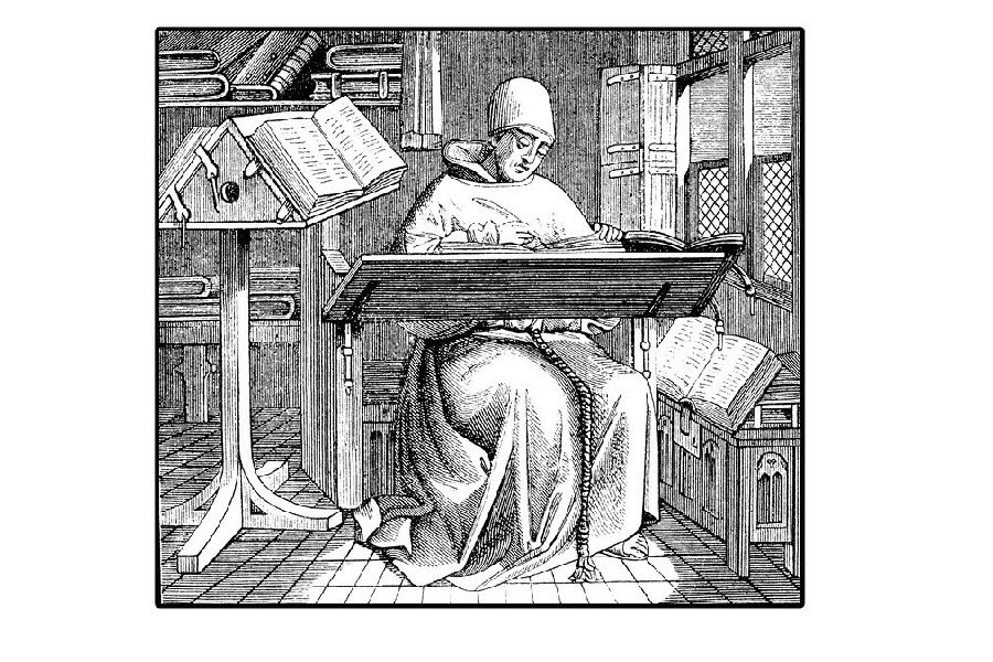 old scribe translating a book