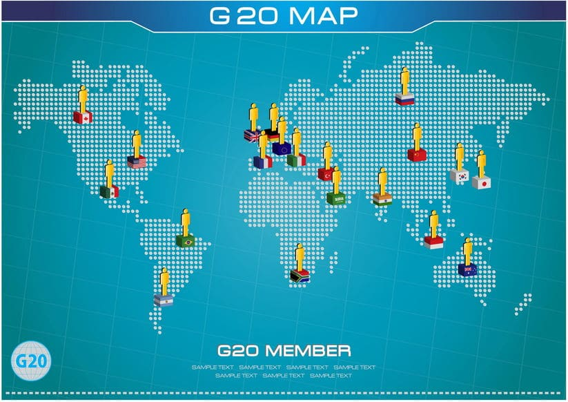 2018 G20 members on a digital global map