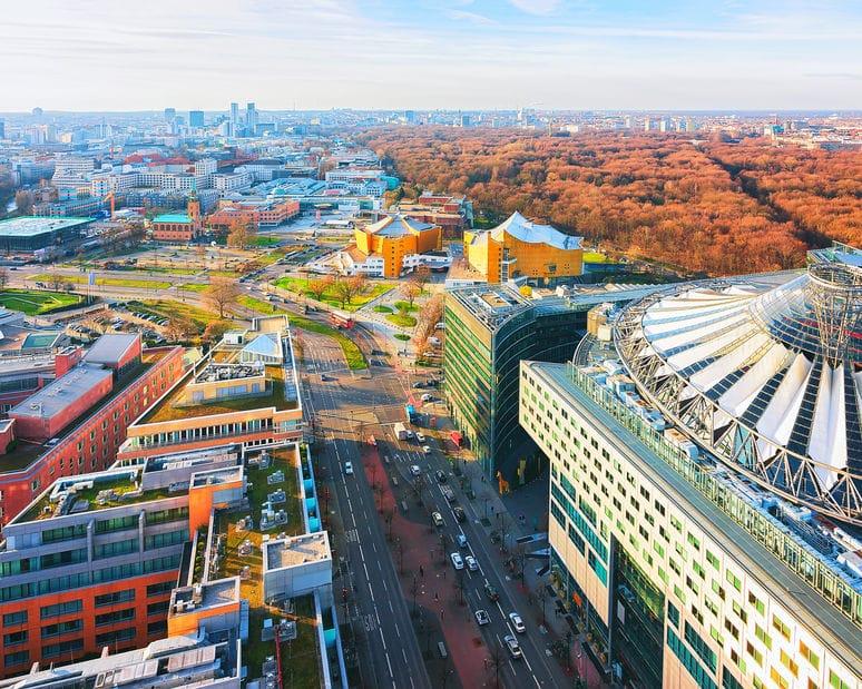 Birds eyeview of Potsdamer Platz downtown Berlin, Germany
